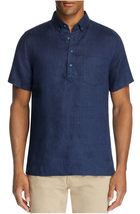 Onia Josh Linen Regular Fit Popover Shirt , Deep Navy, Size XL,  MSRP $150 - $89.09