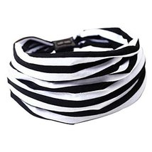 Set of 2 Black and White Stripe Sports Head Bands Hair Bands 23x20 cm