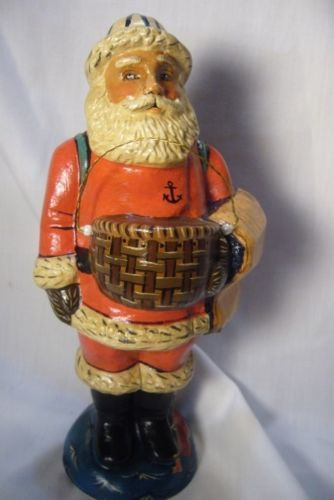 Vaillancourt Folk Art Nantucket Lightship Santa  Signed