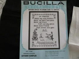 """Bucilla KITCHEN SAMPLER Stamped Cross Stitch on Linen KIT #1734 - 11"""" x 14"""" - $12.00"""
