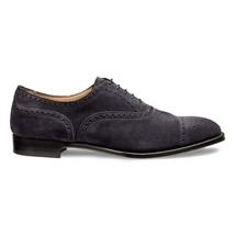 Handmade Men's Dark Grey Suede Heart Medallion Dress/Formal Oxford Shoes image 5