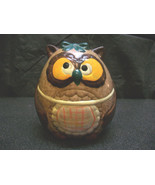 ROUND OWL BANK HAND PAINTED CERAMIC POTTERY BIRD ANIMAL DECORATIVE COLLE... - $6.00