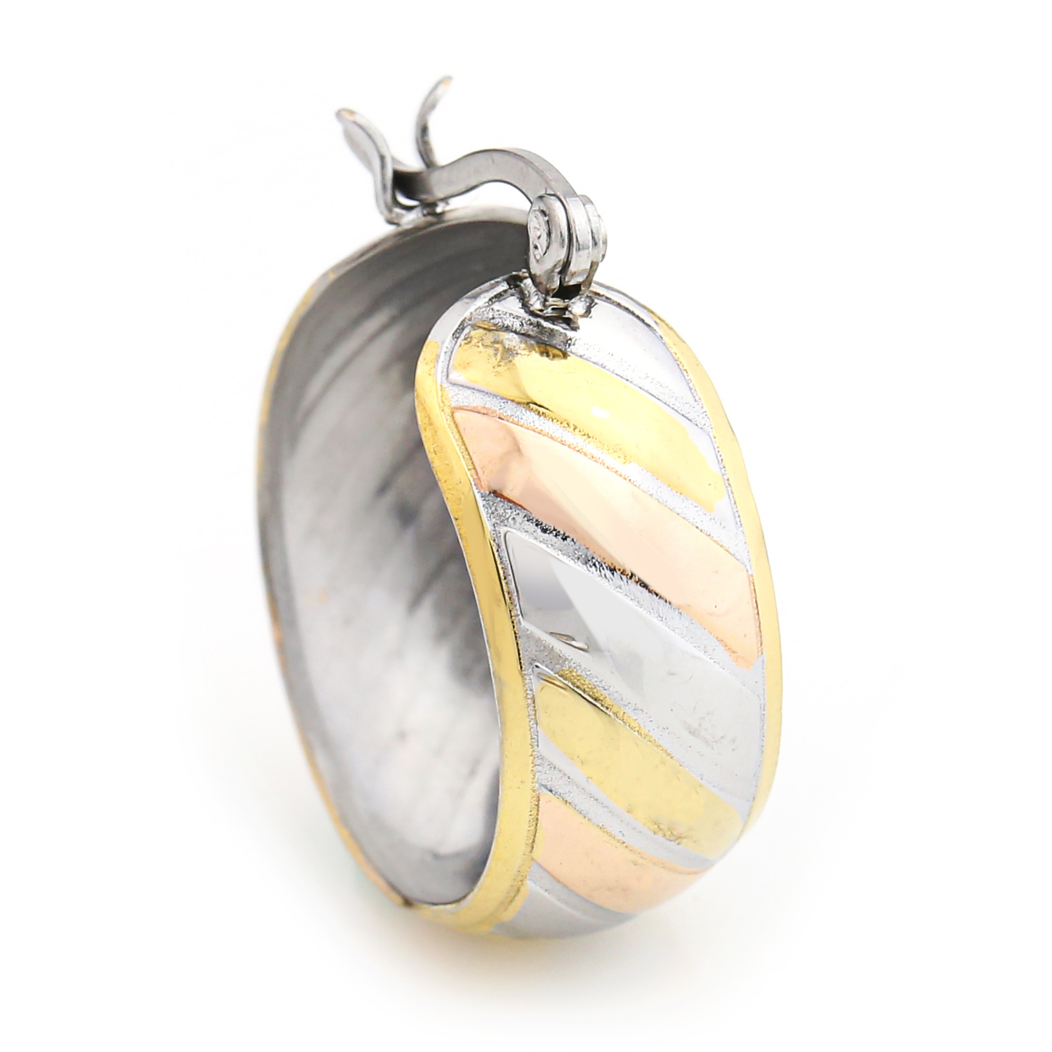Chunky Striped Tri-Color Silver, Gold & Rose Tone Hoop Earrings- United Elegance image 2