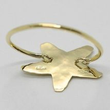 18K YELLOW GOLD FLAT STAR RING, FINELY WORKED, SATIN, HAMMERED, MADE IN ITALY image 2