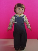 """18"""" Doll Clothes Handmade Floral Top With Denim Overalls Virtual Doll Store - $8.59"""