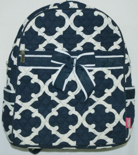 NGIL OTG2828NY Color Navy and White Quilted Microfiber Backpack Geometric Design