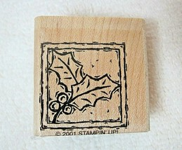 2001 Stampin Up Rubber Stamp Holly & Berries in Frame Never Used ! - $8.42