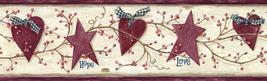 Dorothy Rose Star Heart Sprig Wallpaper Border Chesapeake PUR44533B - $20.78