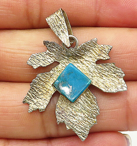 925 Sterling Silver - Vintage Turquoise Gold Tone Autumn Leaf Pendant - P6147
