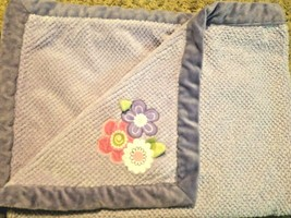 Carters Purple Baby Blanket Textured Pink White Floral Green Leaves - $39.56