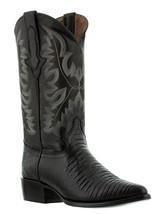 Mens Black Lizard Design Western Cowboy Leather Boots Alligator Exotic A... - €106,68 EUR
