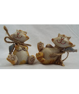 "Set of 2 Resin Orange Tabby Cat Figures with Fish 3"" x 3"" Each - $12.09"