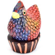 Handmade Alebrijes Oaxacan Painted Wood Folk Art Chicken Hen Basket Figurine image 2