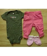 "NWOT Girl's Size NB Newborn Brown ""Mommy Adores Me"" Top Pants & Socks Ca... - $11.50"