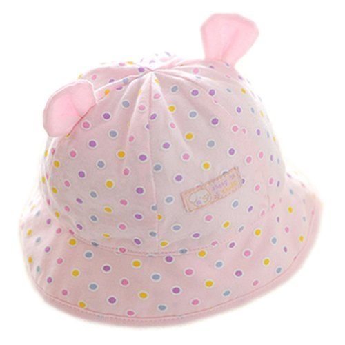Polka Dots Pink Baby Sun Cap Infant Floppy Summer Hat Toddler Bucket Hat 48 cm