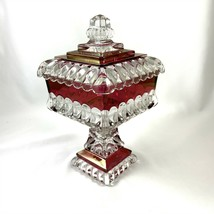Westmoreland Glass Wedding Box Bowl Pedestal Candy Compote & Lid Ruby Vtg 1950s - $59.39