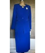 NEW Royal Blue 3pc Skirt Set Suit Blazer Tank Shell Long Skirt sz10 Nina... - $62.74