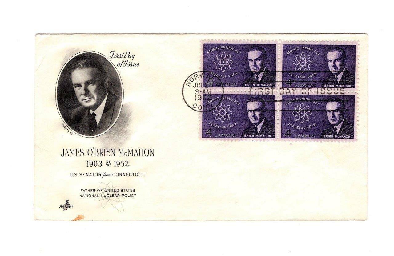 FDC ENVELOPE-JAMES O'BRIAN McMAHON-CONNECTICUT SENATOR- BL4-1962 ART CRAFT BK12