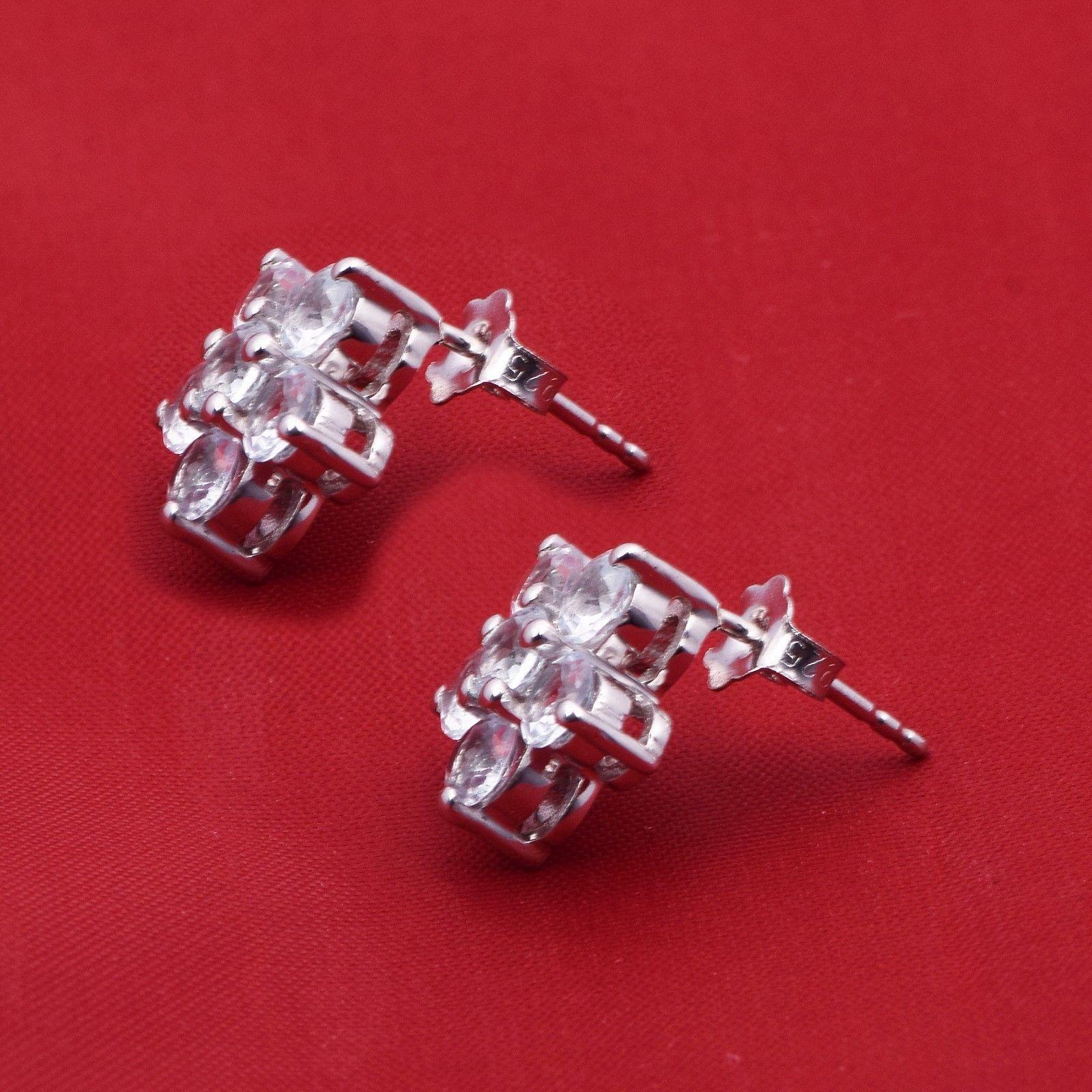 Flower Design Blue Topaz 925 Sterling Silver Earring Shine Jewelry SHER0778