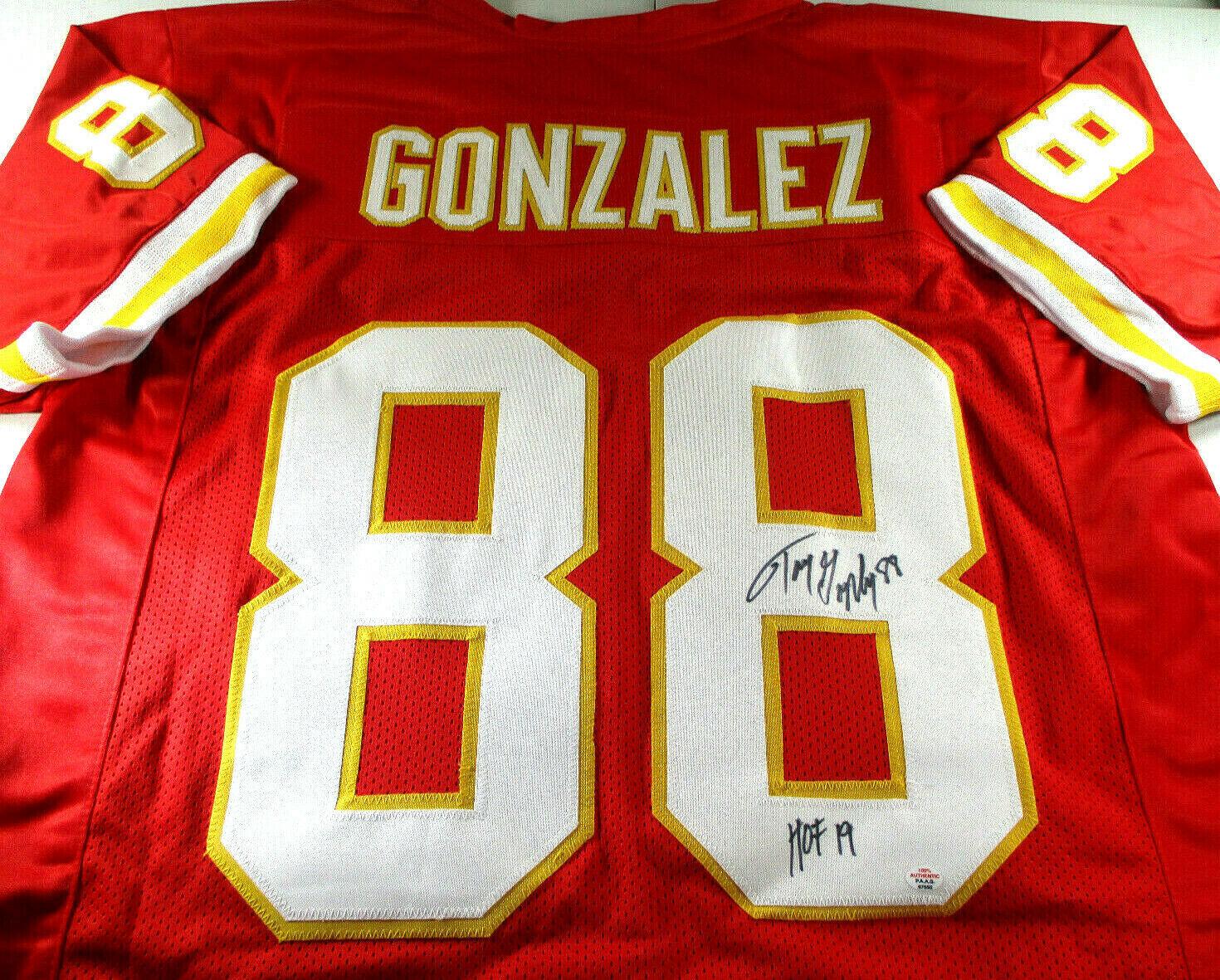 TONY GONZALEZ / HOF '19 / AUTOGRAPHED KANSAS CITY CHIEFS RED CUSTOM JERSEY / COA