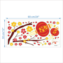 ZOOYOO® Festive Chinese New Year Red Lantern Peach Flowers Pvc Wall Art Decals image 6