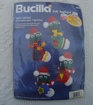 Vintage New Bucilla Hoppy Christmas Frogs Felt Applique Ornaments Kit - ... - $34.95