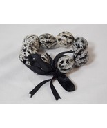 Large Nut Walnut Shaped Beaded Bead Stretch Bracelet with Black Ribbon NEW - $12.86