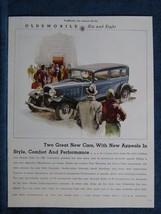 1932 Oldsmobile Car Ad Print - Black Porter Shown ~ People Admire New Ca... - $7.88