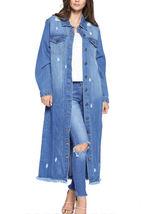 Women's Oversize Long Button Up Distressed Cotton Denim Classic  Jean Jacket image 8