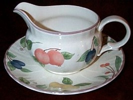 2 pc Mikasa FRUIT PANORAMA PATTERN Gravy Boat w/Underplate - $19.79
