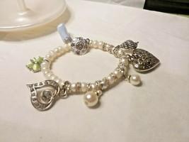 Jewelry: Faux Pearl Stretchie Charm Bracelet 170707 - $8.90