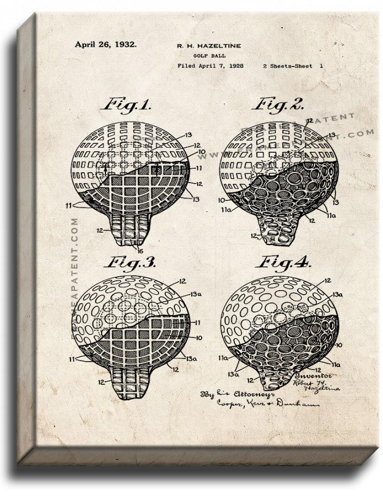 Primary image for Golf Ball Patent Print Old Look on Canvas