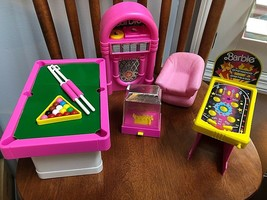 Used Mattel Barbie and Skipper Game Room Playset Clean Pool Table Not Co... - $72.57