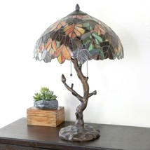 River of Goods Tiffany STYLE Stained Glass Table Lamp Tree Trunk Farmhou... - $207.89