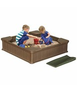 Modern Home 4ft x 4ft Weather Resistant Outdoor Sandbox Kit w/Cover - $188.78