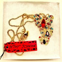 Unique Betsy Johnson 3 Colored Crystal Butterflies Pendant - $21.00