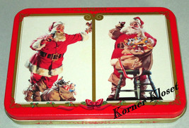 Coca-Cola Christmas Holiday Playing Cards - Decks of Coke Cards In Tin - New - $15.43