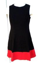 LAUREN RALPH LAUREN Women Dress Black Red 8P Sleeveless A-Line Viscose B... - $89.95