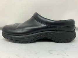Merrell Womens Size 6,5M Black Leather Air Cushion Mules Clogs Slip Ons - $46.74