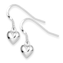 Sterling Silver Tiny Hollow Puff Heart Dangle Earrings - $15.88