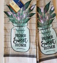 KITCHEN LINENS SET 6pc Home Sweet Home Towels Cloths Potholders Lavender Grey image 2