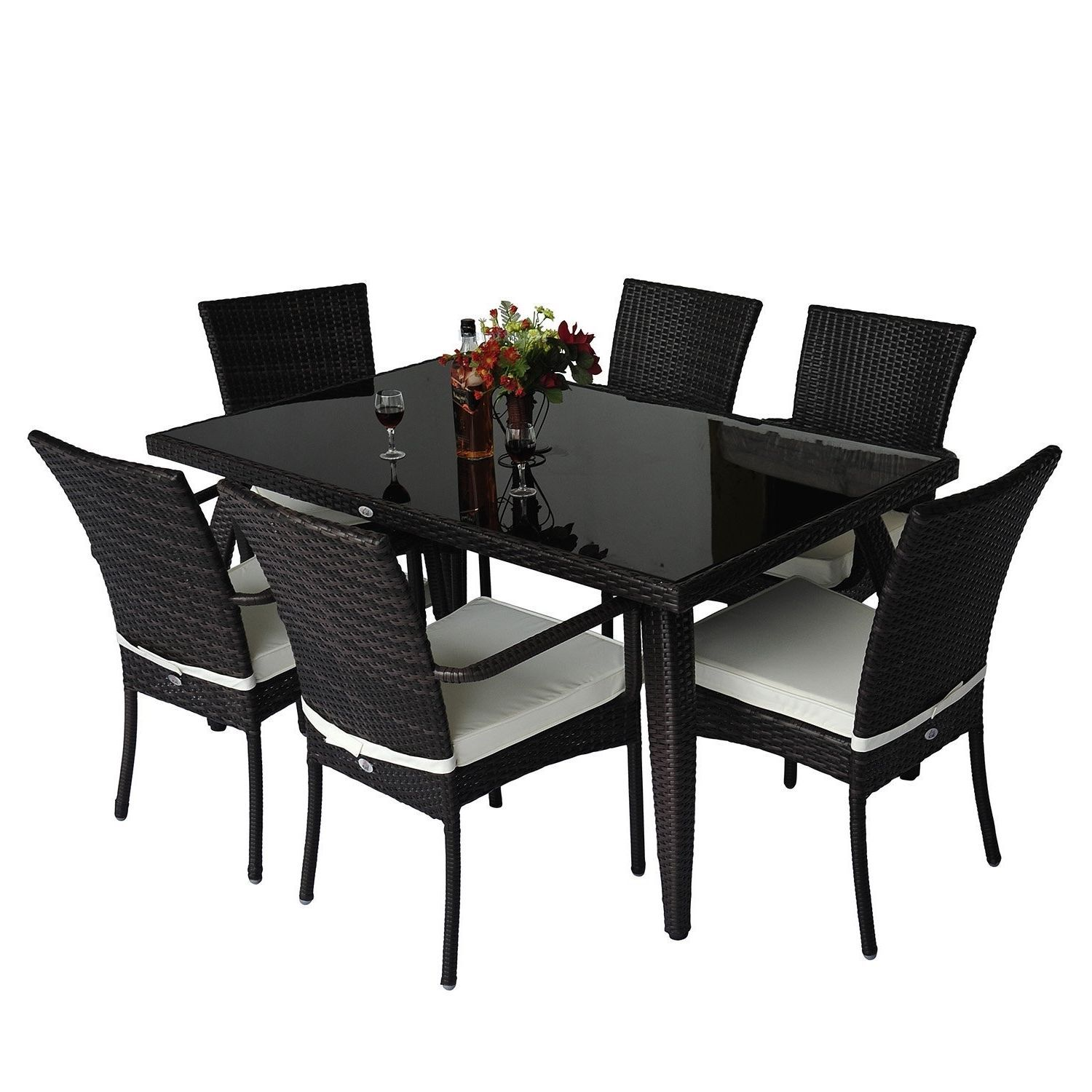 Rattan Garden Dining Set 7pcs Luxury Patio Furniture Rectangular Table 6 Chairs