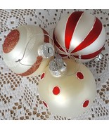 """3 Red & White Glass Christmas Tree Ornaments Dots Stripes Candy Cane 3.25"""" - $14.99"""