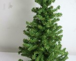 """Vintage Green Artificial Table Christmas Tree Wooden Round Base 24"""" Tall 12""""wide"""