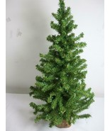 "Vintage Green Artificial Table Christmas Tree Wooden Round Base 24"" Tall 12""wide - $19.75"