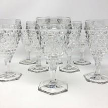 8 - Vintage Clear Glassware Fostoria AMERICAN Water Goblet Cubist Wine G... - $88.11