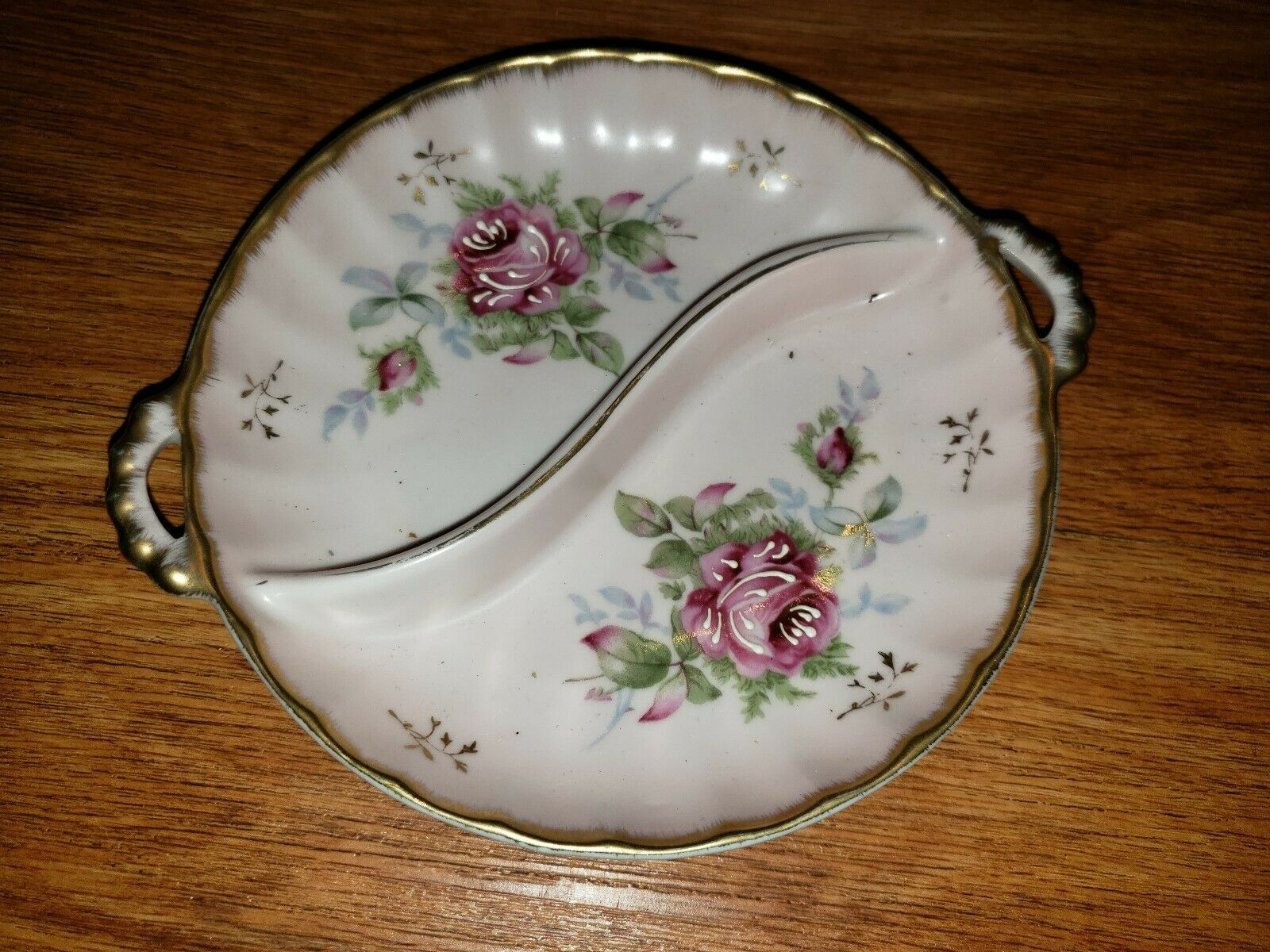 Vintage Candy Nut Dish Divided WHITE WITH Pink FLOWERS Candy Dish