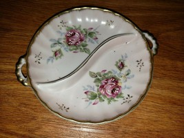 Vintage Candy Nut Dish Divided White With Pink Flowers Candy Dish - $23.10