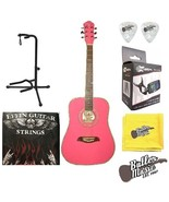 Oscar Schmidt OG1P Acoustic 3/4 Size Pink Guitar w/Effin Strings + More - $129.95