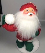 Santa claus Annalee mobilitee felt doll snowball fight Christmas decoration - $59.97